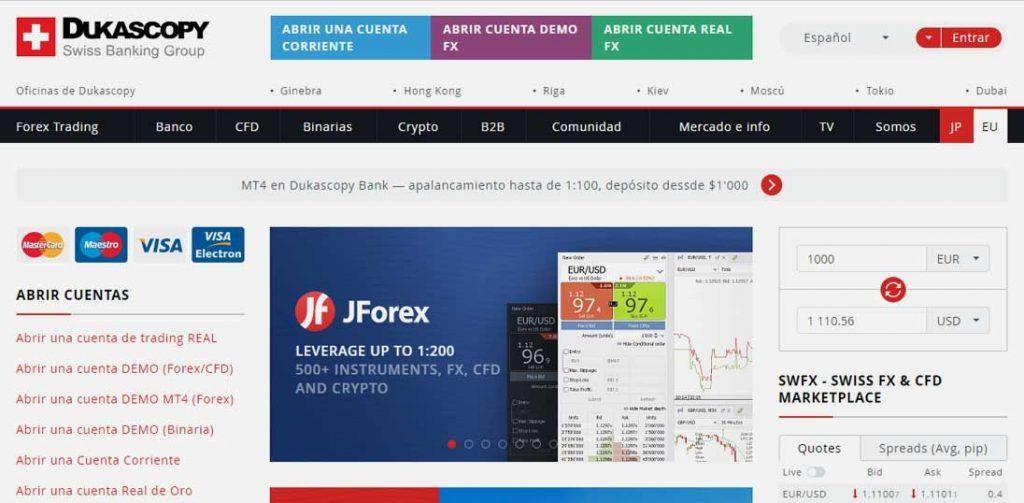 Homepage Dukascopy