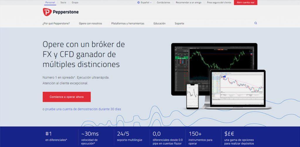 La Homepage de Pepperstone