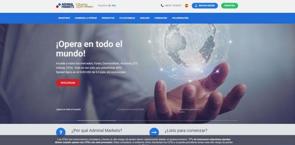 La homepage de Admiral Markets