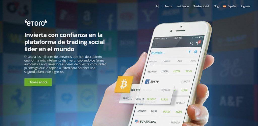 Homepage de eToro un broker online bastante joven y potente