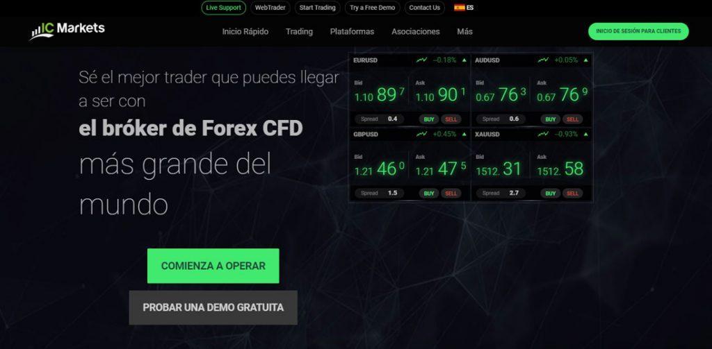 Home de IC Markets, un broker muy reconocido en el mundillo